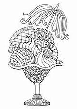 Sundae Coloring Vector Zentangle Stress Strawberry Drawn Anti Sketch Adult Illustration sketch template