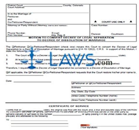 colorado form motion to restrict parenting time motion to convert decree of legal separation to decree of