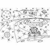 Coloring Space Galaxy Pages Outer Surfnetkids Ship sketch template