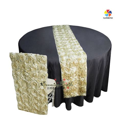 wholesale satin rosette embroidery table runner chair