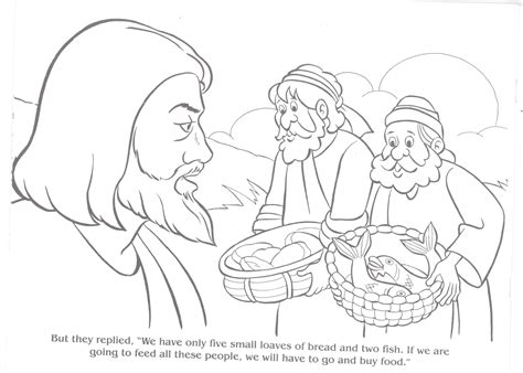Jesus Feeding 5000 Coloring Page Az Pages
