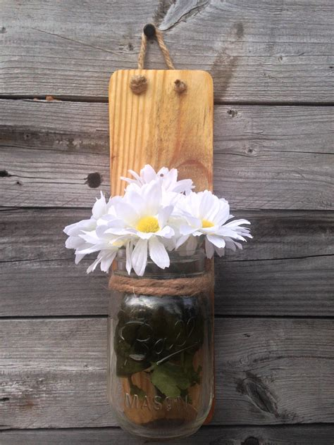 Hanging Wall Vase - set of two rustic jar wall sconce country decor wall