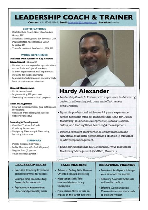 Trainer Profile Sle by Sales Trainer Leadership Coach Profile