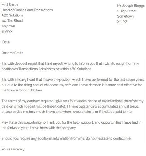simple resignation letter   regret