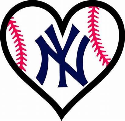 Yankees York Clipart Baseball Heart Decal Ny