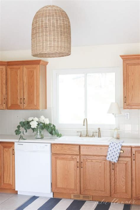updating  kitchen  oak cabinets  painting