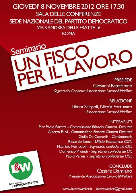 Pd Sede Nazionale Seminario Un Fisco Per Il Lavoro Gioved 236 8 Novembre