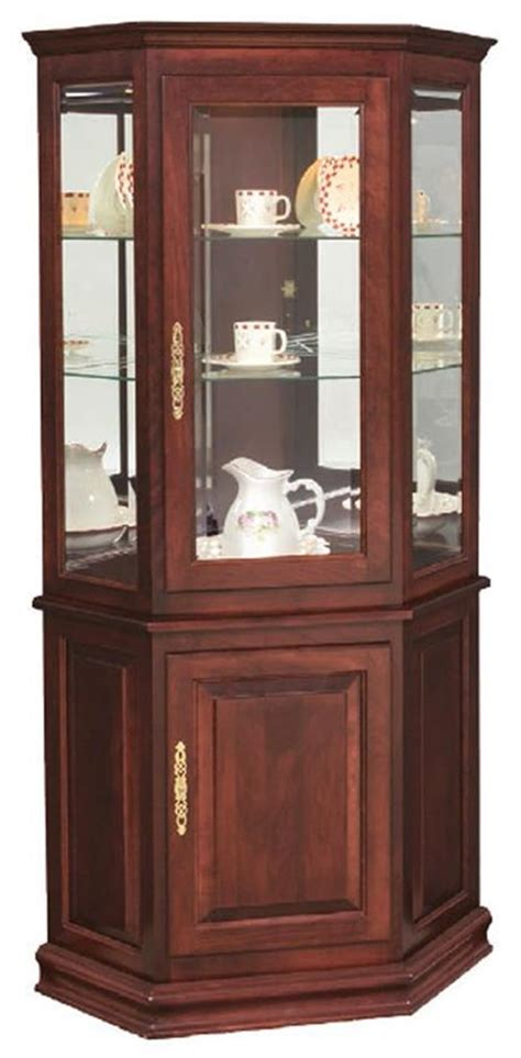 corner kitchen curio cabinet hardwood corner curio cabinet with enclosed base from 5844