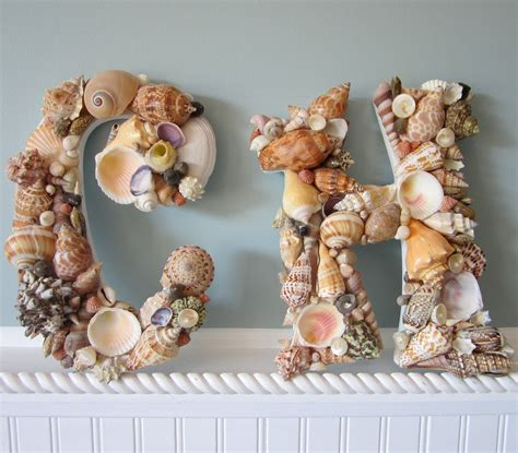 sea shells decorations shell letters for beach decor any 2 nautical decor seashell letters natural colors on luulla