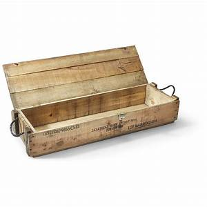 U S Military Wooden Ammo Box with Rope Handles, Used