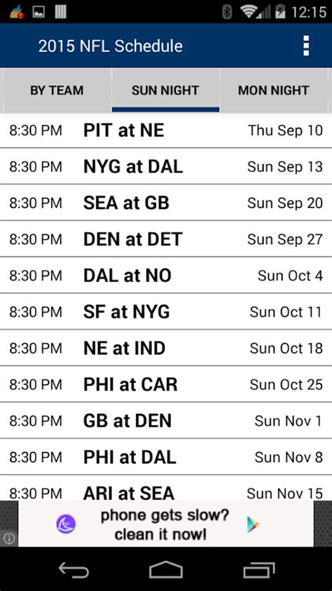 football schedule nfl android apps  google play