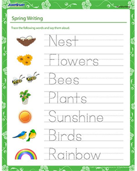 spring writing handwriting worksheet jumpstart