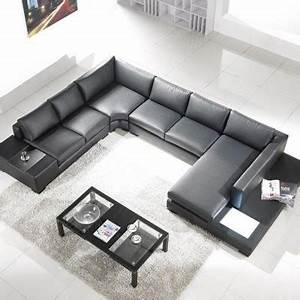 Tosh furniture modern leather sectional sofa with built in for Modern black leather sectional sofa with built in light
