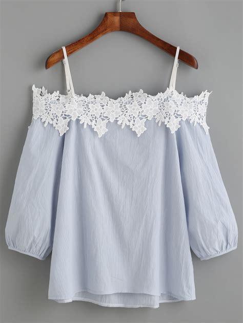sleeve blouses for light blue cold shoulder appliques lantern sleeve blouse