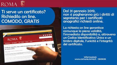 Comune Di Roma Ufficio Stato Civile by Roma Capitale Sito Istituzionale Certificati