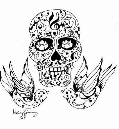 Skull Tattoo Sugar Coloring Drawing Pages Skulls