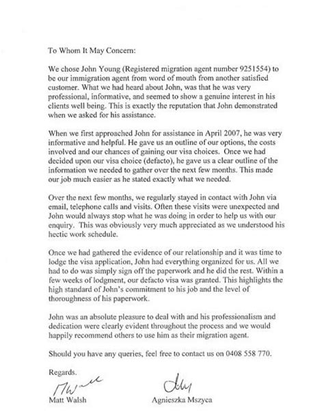letter of recommendation for immigration letter of recommendation for immigration template business