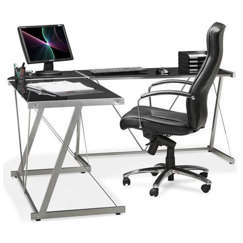 surface minimum bureau bureau d 39 angle design rovigo en verre et métal noir