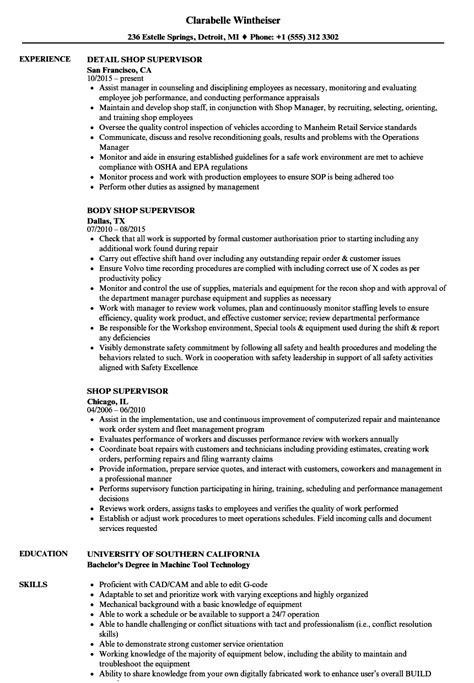 Shop Foreman Resume by Shop Supervisor Resume Sles Velvet