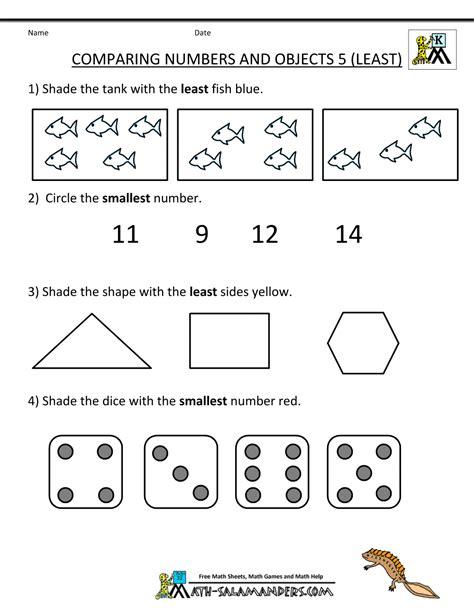 Kindergarten Math Worksheets  Kindergarten Math Worksheets Comparing Numbers Objects 5
