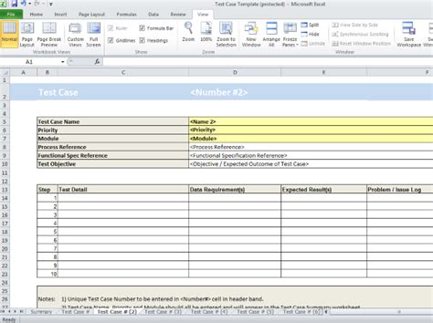test case spreadsheet template project documentation