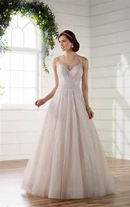 soft shimmer a line wedding dress with unique back detail With shimmer wedding dress