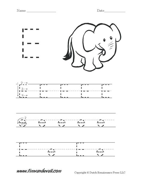 elephant tracing lines worksheets for preschoolers