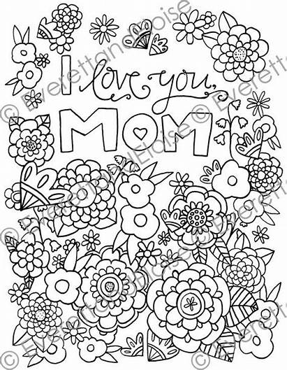 Coloring Mom Pages Digital Adult Quotes Doodle