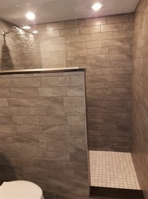 tiled bathroom remodel large walk  shower  wall