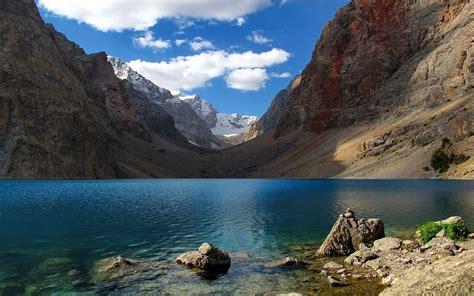 nature landscape lake mountain snow clouds blue