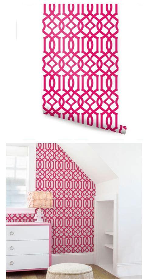 modern trellis hot pink peel  stick wallpaper