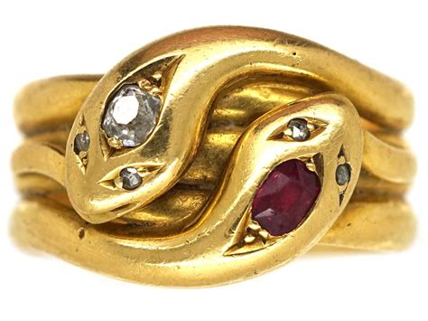 victorian 18ct gold ruby diamond double snake ring the jewellery company