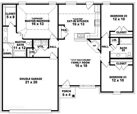 one level house plans 653788 one 3 bedroom 2 bath traditional