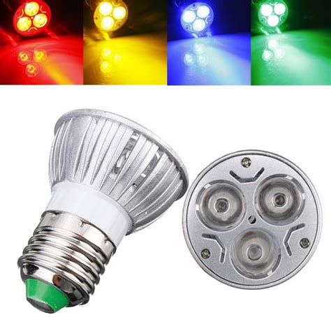 buy e27 3w ac 220v 3 leds yellow blue green led spot