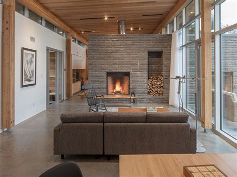 modern house  scotch cove   stone fireplace