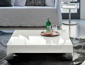 modern white gloss coffee table with large storage space With big white coffee table