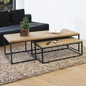 Table Basse Bois Metal : table basse industrielle gigogne made in meubles ~ Teatrodelosmanantiales.com Idées de Décoration
