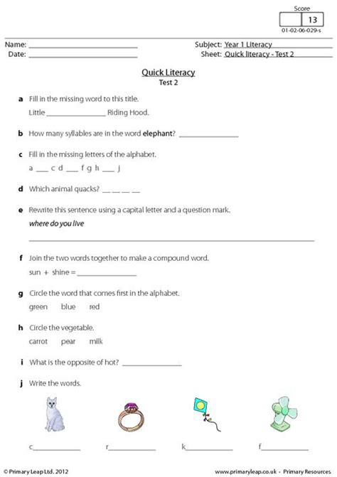 quick literacy test 2 primaryleap co uk