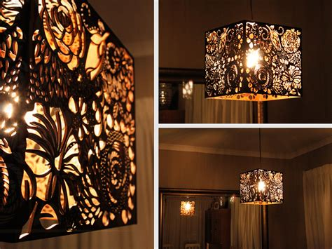 Laser Cut L Shade by Laser Cut Floral Wood Light Shade