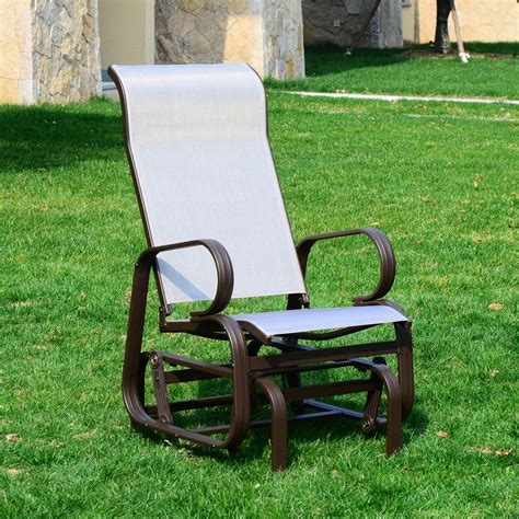 outsunny outdoor sling fabric patio glider chair brown