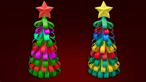 3d paper christmas tree with ribbon tree with color paper ribbons how to make a 3d paper tree diy tree