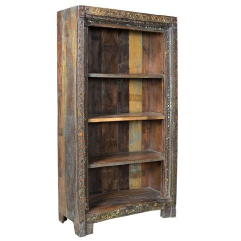 Indian Wood Bookcase by Carved Indian Bookcase Fair Trade Present Company