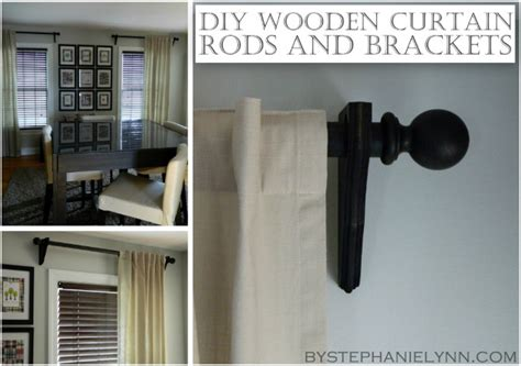 make your own wooden curtain rod set with brackets