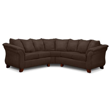 two piece sectional sofa adrian 2 piece sectional chocolate american signature