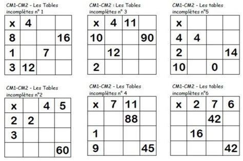table de multiplication a completer les tables multiplicatives incompl 232 tes cm maths