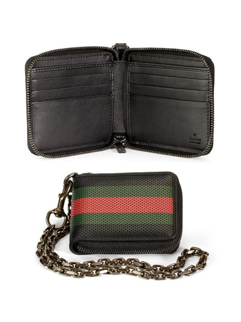 lyst gucci perforated leather web chain wallet  black  men