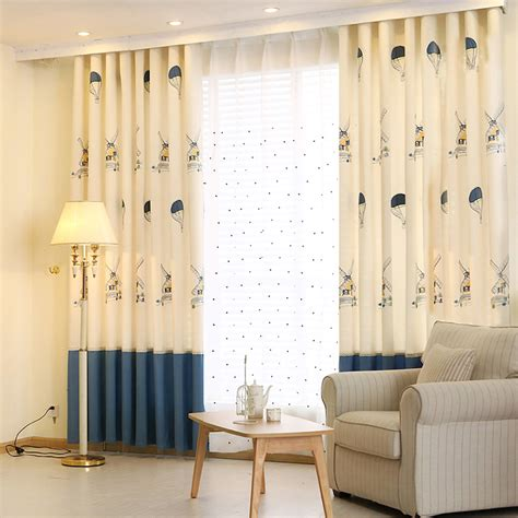 beige and navy windmill color block curtains