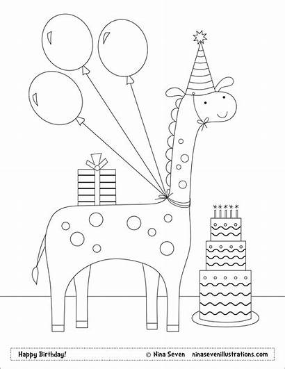 Coloring Pages Happy Birthday Personalized Seven Nina