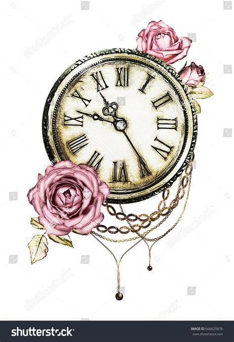 watercolor illustration pink roses chain clock stock illustration  shutterstock