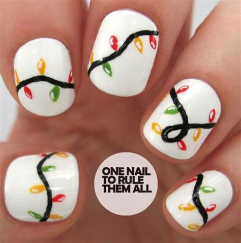 christmas lights nail art designs ideas stickers 2014
